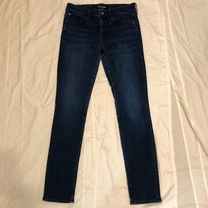 Express Super Skinny Mid Rise Dark Wash Jeans (8R)